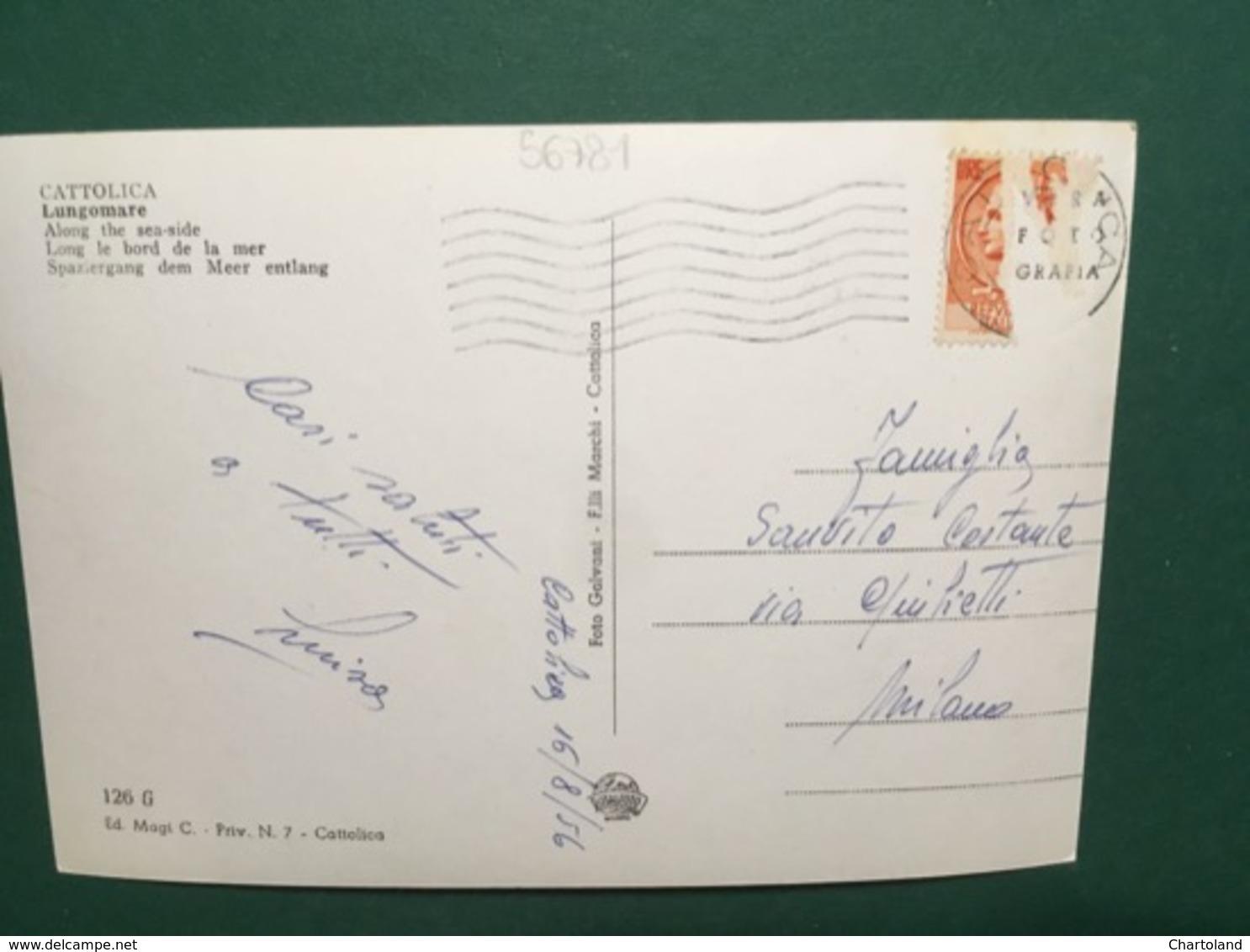Cartolina Cattolica - Lungomare - 1956 - Rimini