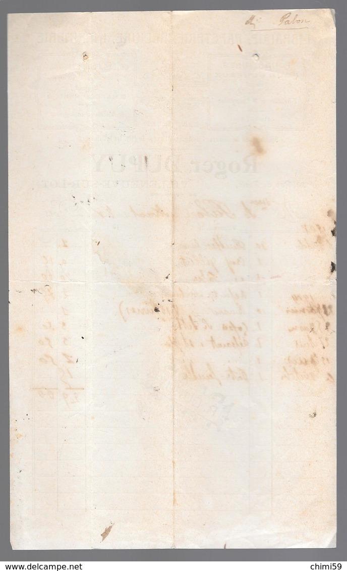 LOT ET GARONNE - VILLENEUVE SUR LOT - Facture Librairie Papeterie Reliure Imprimerie Roger Dupuy 1908 - Stamperia & Cartoleria