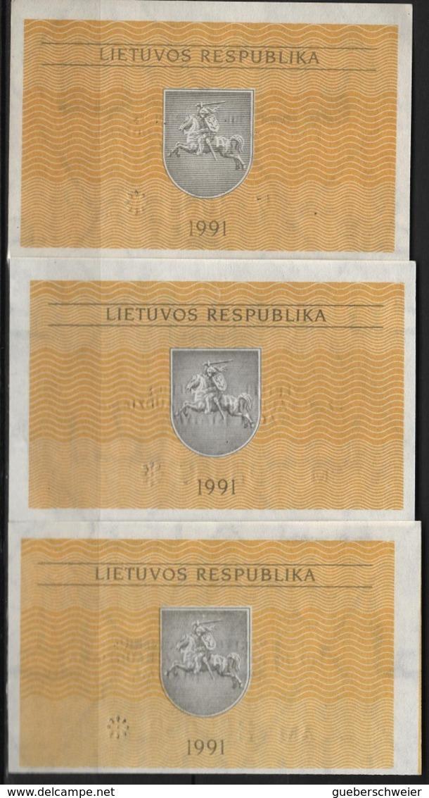 B 70 - LITUANIE Lot De 3 Billets Avec Variété De Teintes états Neufs - Lituanie