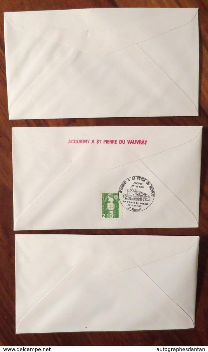 Cachets ACQUIGNY à SAINT PIERRE Du VAUVRAY 1991 Le Train Passe LOT 3 Enveloppes - Pacific 231G 558 - 1991 Cachet A EURE - Trains