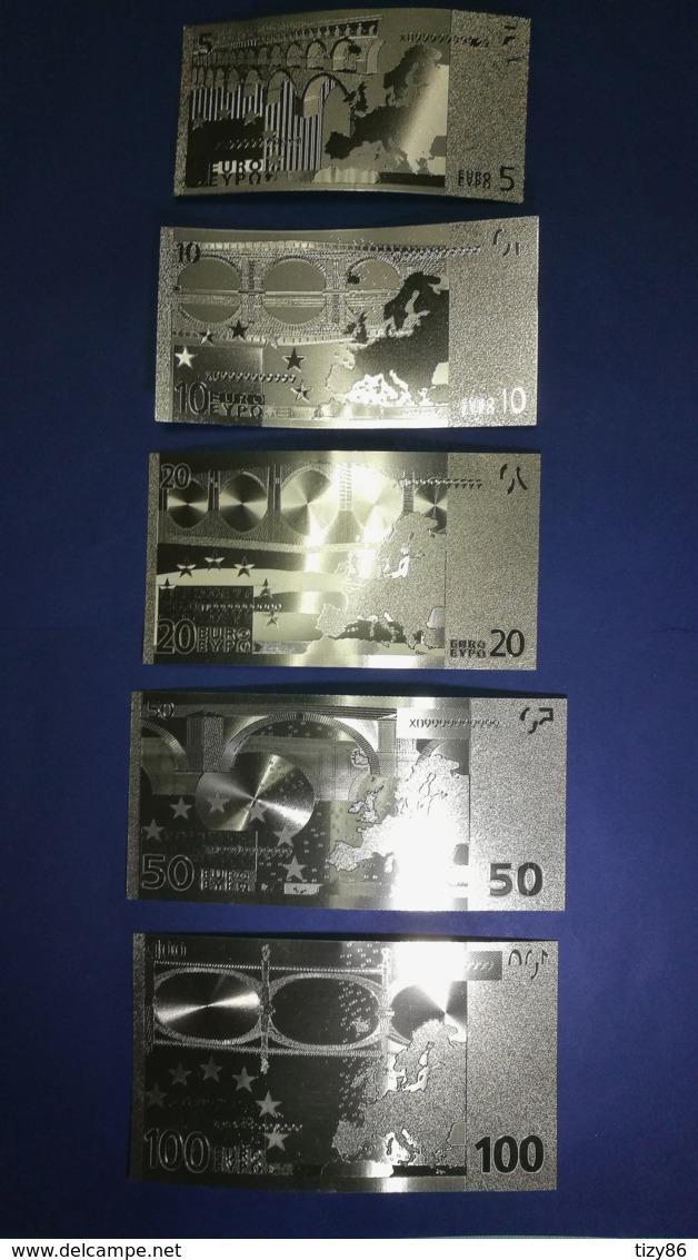 Set 5 Banconote  Laminate In Oro Da 5,10,20,50,100 Euro - EURO