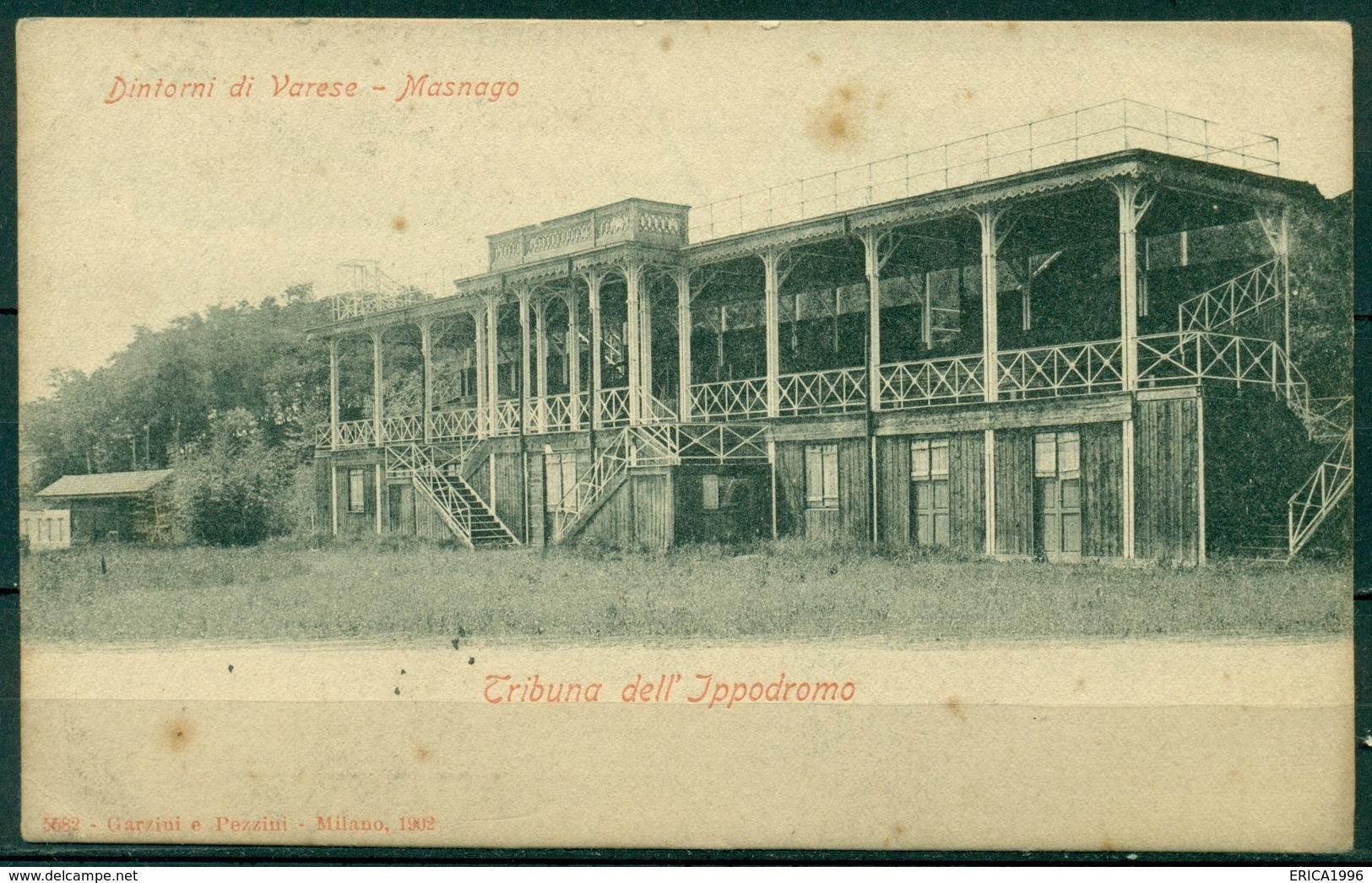 CARTOLINA - VARESE - CV534 MASNAGO (Varese VA) Tribuna Dell'Ippodromo, FP, Viaggiata 1912, Buone Condizioni - Varese