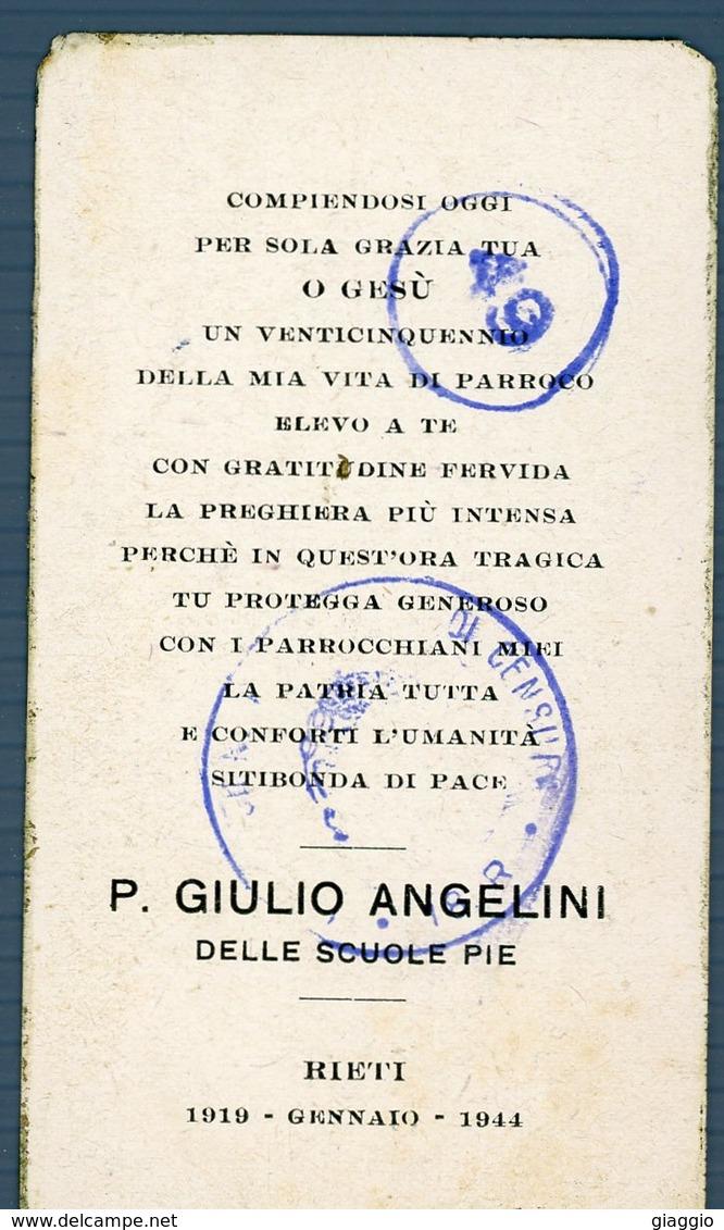 °°° Santino - Rieti 1919 Gennaio 1944 P. Giulio Angelini Con Timbri Di Censura °°° - Rieti