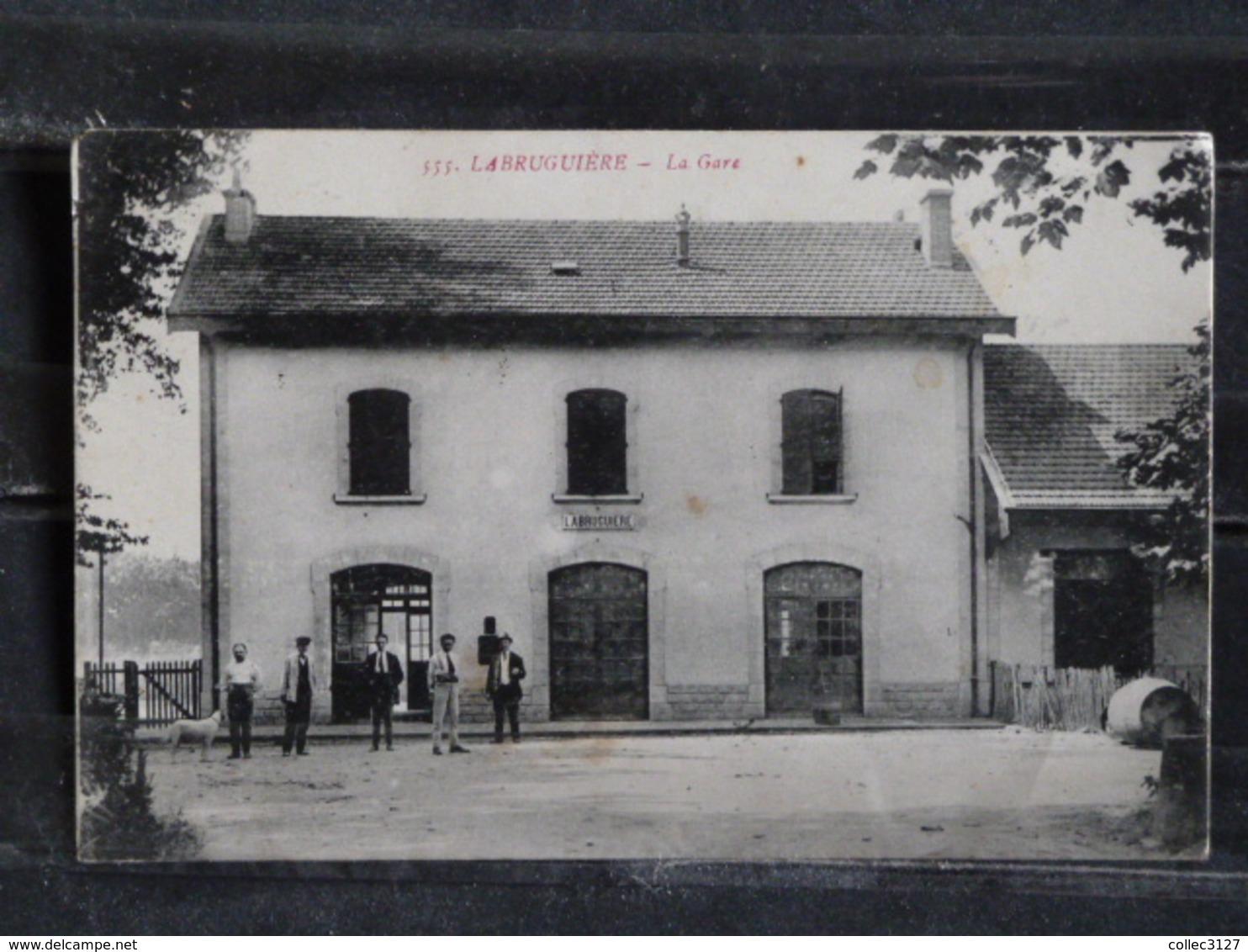 Z28 - 81 - Labruguiere - La Gare - Plan Rare Sur Avis De Passage Maison Poux - 1922  Phototypie Tarnaise Andre Poux Albi - Labruguière