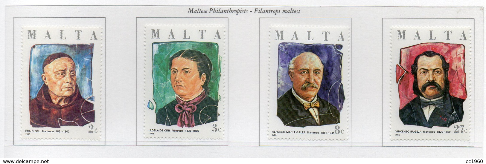 Malta - 1986 - Filantropi Maltesi - 4 Valori - Nuovi - Vedi Foto - (FDC14119) - Malta