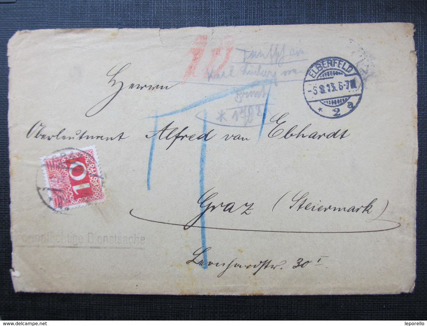 BRIEF Elberfeld - Graz 1913 Portomarken Strafporto //  D*36669 - 1850-1918 Imperium