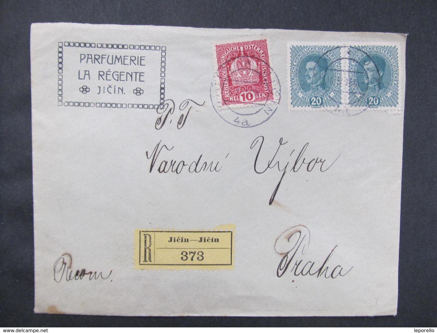 R-BRIEF Jicin - Praha Parfumerie La Regente 16.12.1918 Mitläufer   //  D*36671 - 1850-1918 Imperium