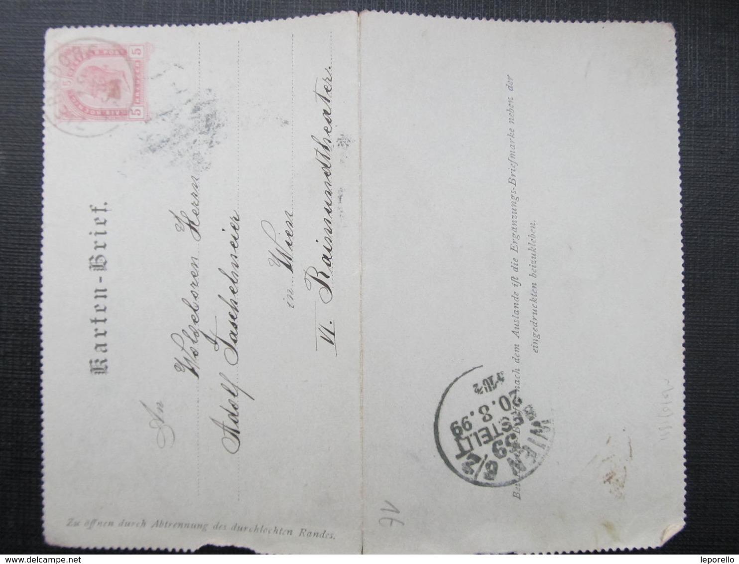 GANZSACHE Ziersdorf - Wien 1899 Kartenbrief //  D*36675 - 1850-1918 Imperium
