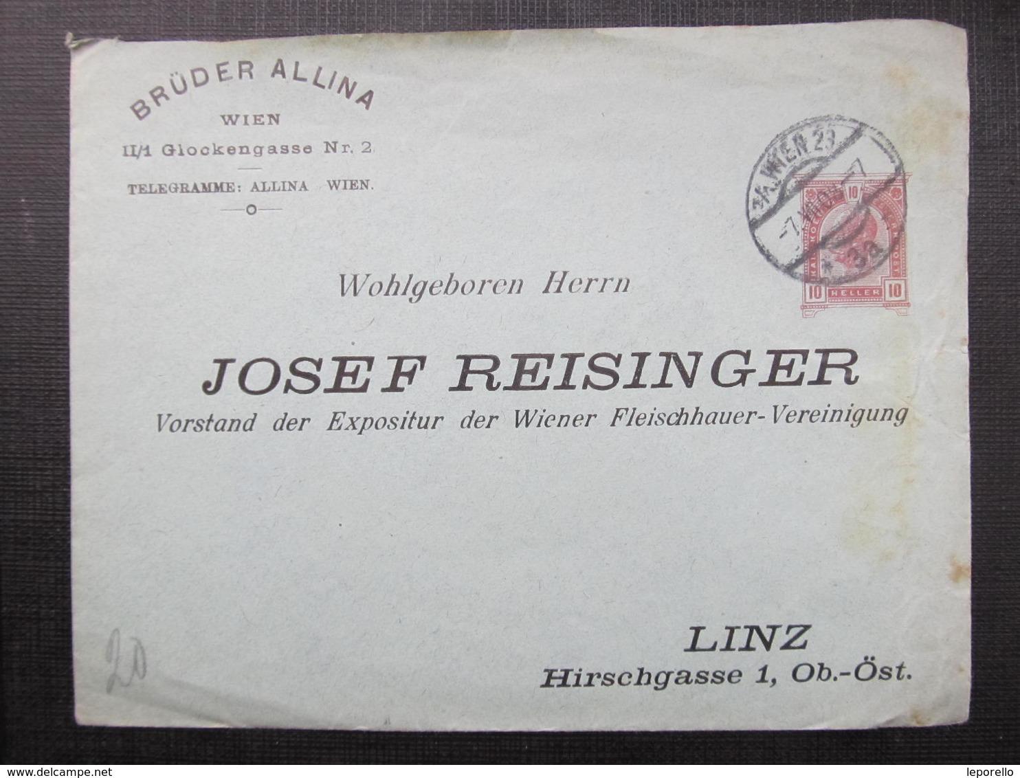 GANZSACHE Wien - Linz 1908 Privatganzsache //  D*36676 - 1850-1918 Imperium