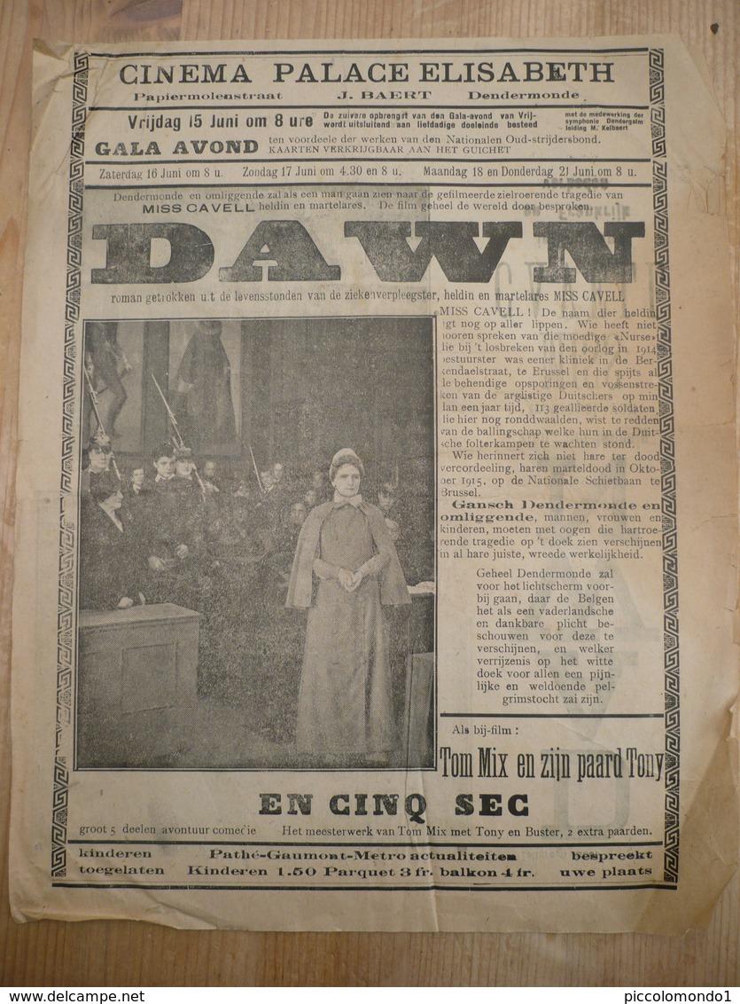 Cinema Palace Eerste Wereldoorlog Film Miss Cavell Brussel Verpleegster Marteldood Schietbaan - Affiches