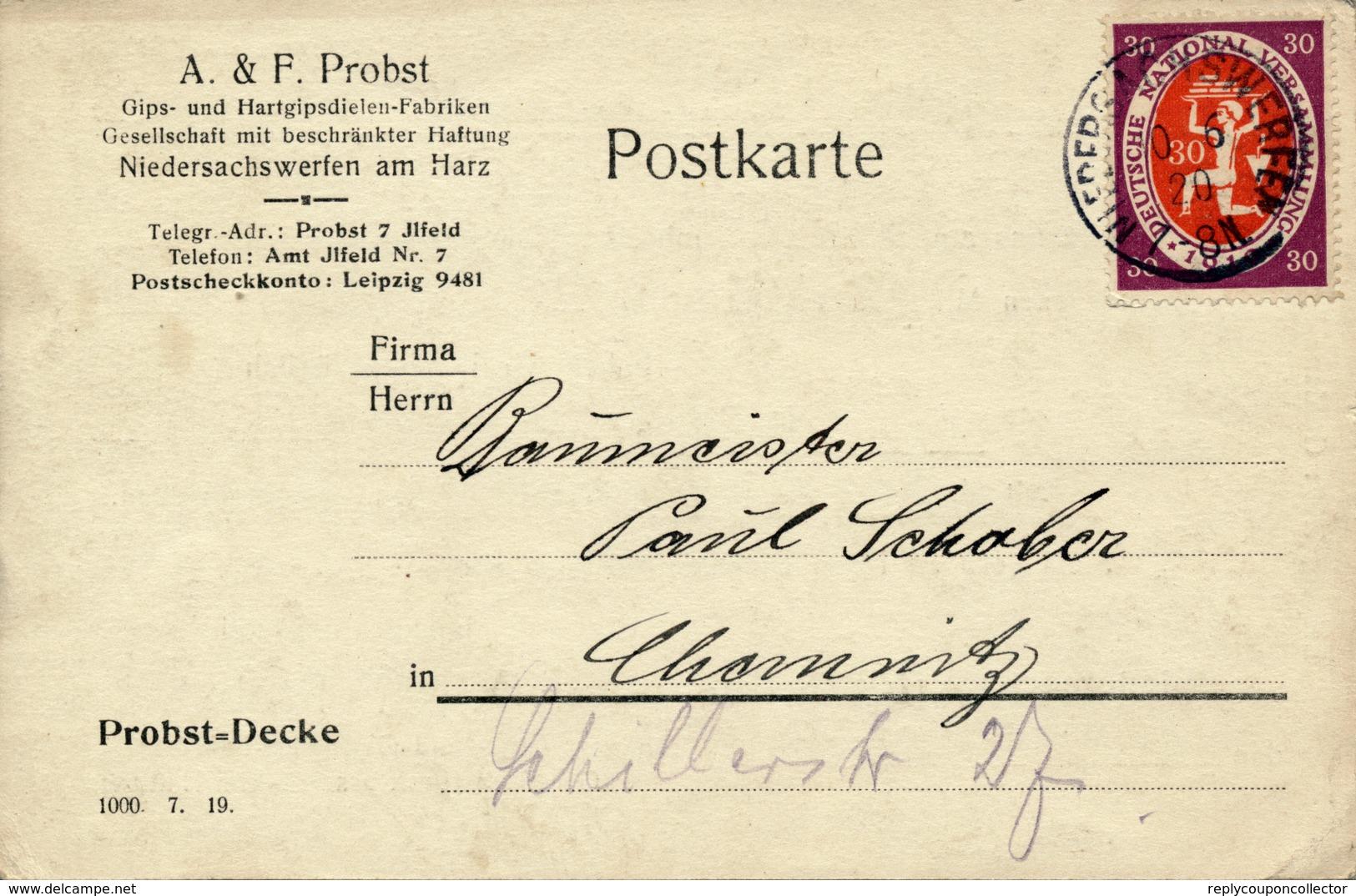 NIEDERSACHSWERFEN - 10.6.1920 , Nationalversammlung - Karte Nach Chemnitz - Briefe U. Dokumente