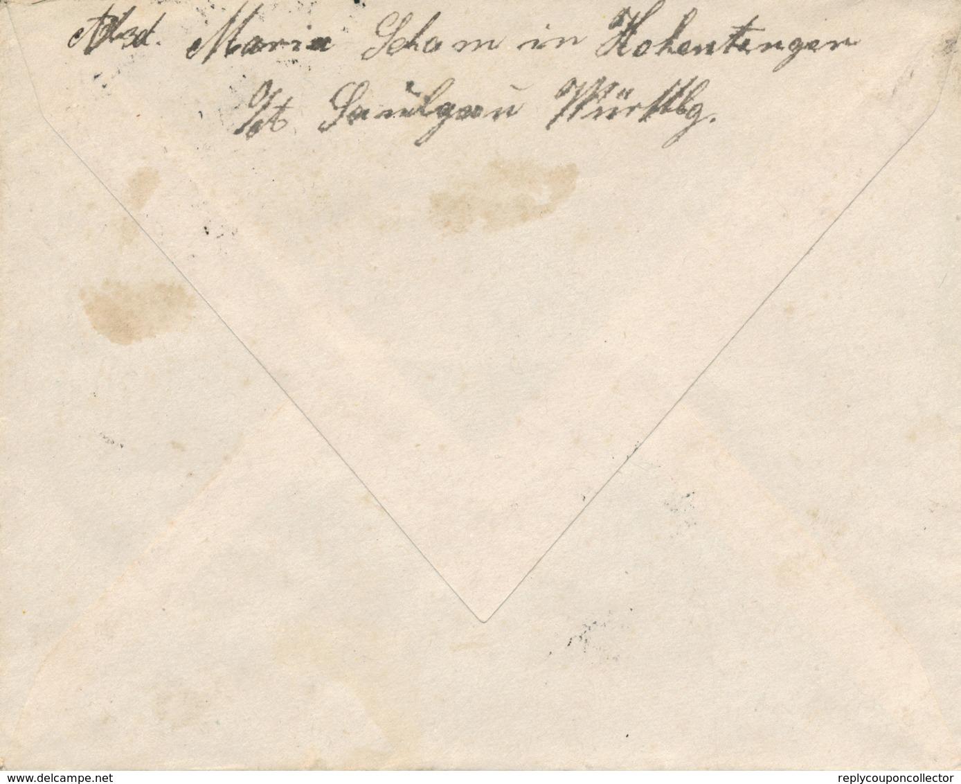 HOHENTENGEN - 21 NOV 1922 , Brief Nach St. Gallen / CH - Deutschland