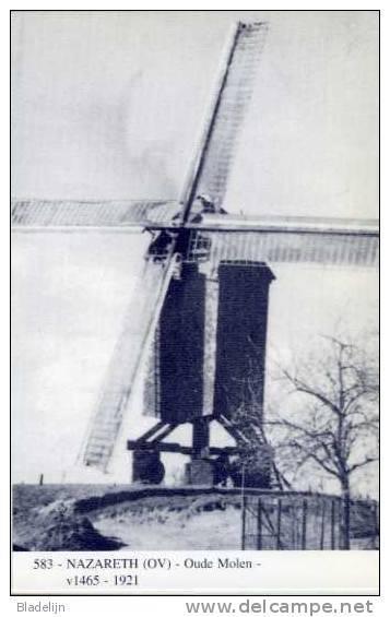 NAZARETH (O.Vl.) - Molen/moulin - Blauwe Prentkaart Ons Molenheem Van De Verdwenen Houten Staakmolen (Oude Molen) - Nazareth