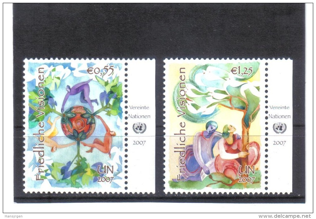 GEO289 UNO WIEN 2007  MICHL  502/03 Mit TABS ** Postfrisch - Wien - Internationales Zentrum