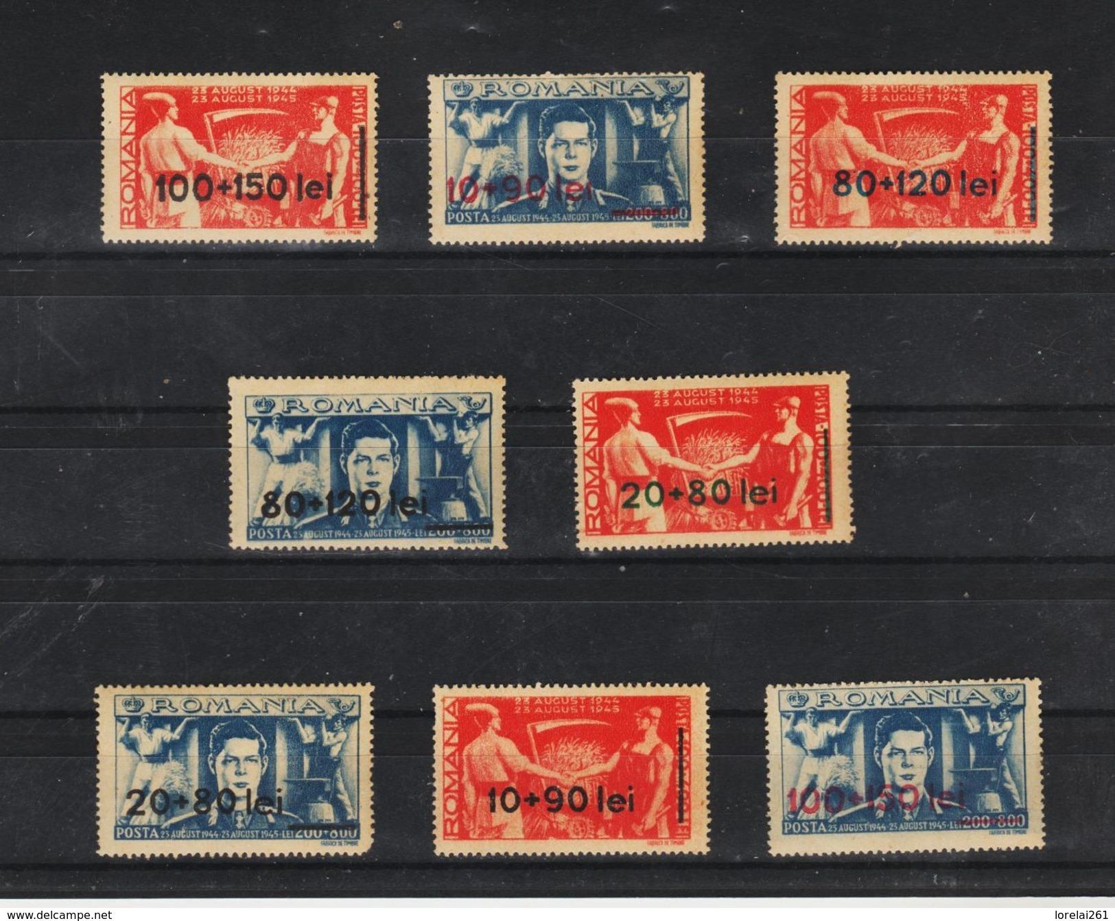 1946 - Front Des Laboureurs Avec Nouvelle Valeur Mi No 921/928  MNH - 1918-1948 Ferdinand, Carol II. & Mihai I.