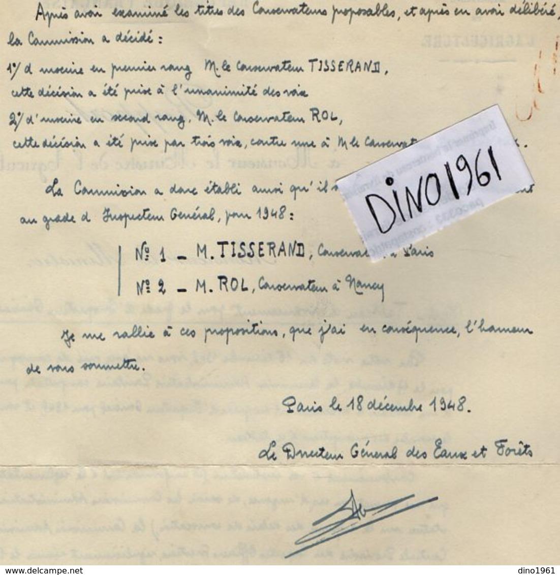 VP14.413 - PARIS 1948 - Rapport à Mr Le Ministre De L'Agriculture Concernant L'avancement Des Officiers Forestiers - Documents Historiques
