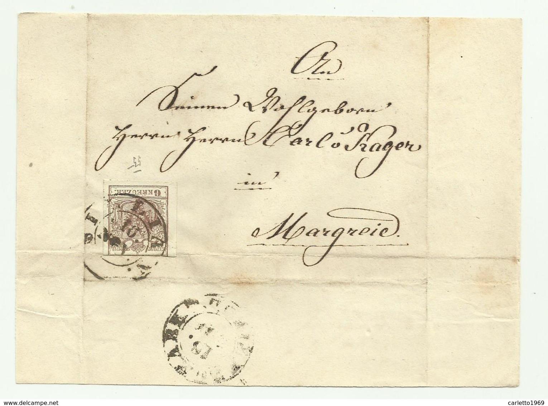 FRANCOBOLLO 6 KREUZER 1855 SU FRONTESPIZIO - Usati