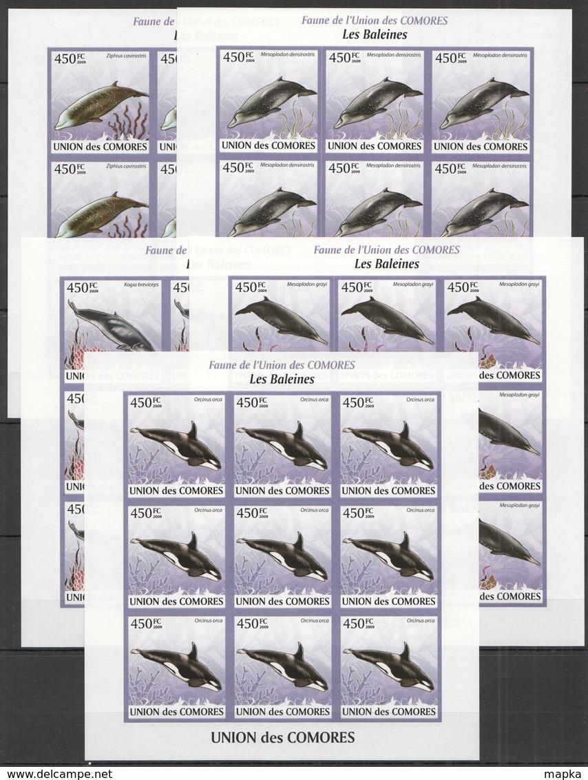 ZZ303 IMPERFORATE 2009 UNION DES COMORES MARINE LIFE LES BALEINES !!! 9SET MNH - Baleines