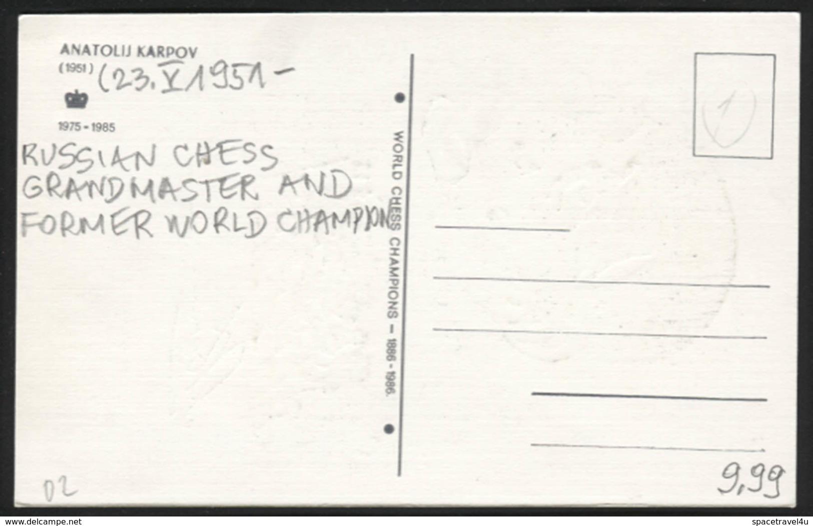 Anatolij Karpov - Russian Chess Grandmaster And Former World Champion -  Postcard - (CHESS-02) - Cartes Postales