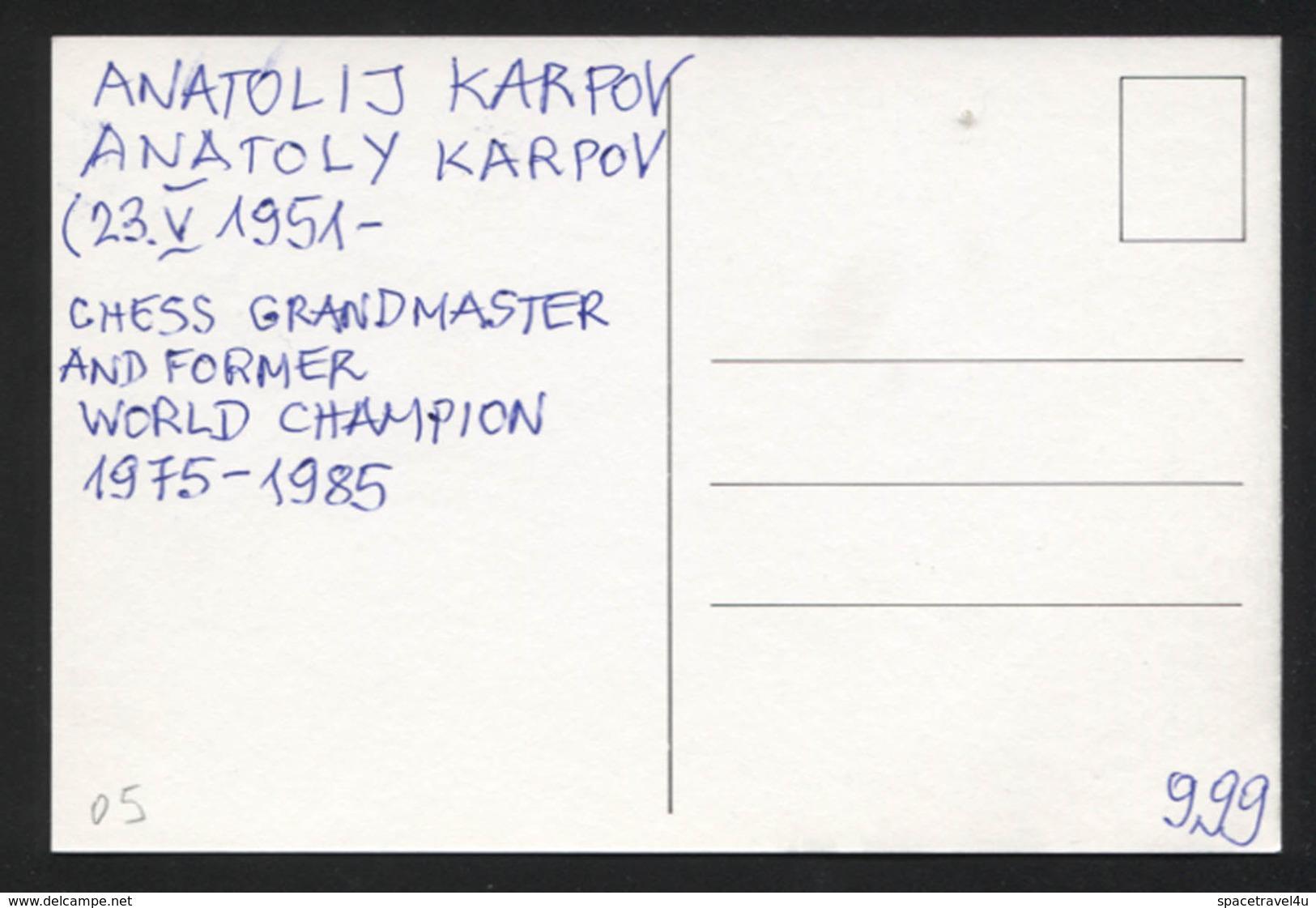 Anatolij Karpov - Russian Chess Grandmaster And Former World Champion -  Postcard - (CHESS-05) - Cartes Postales