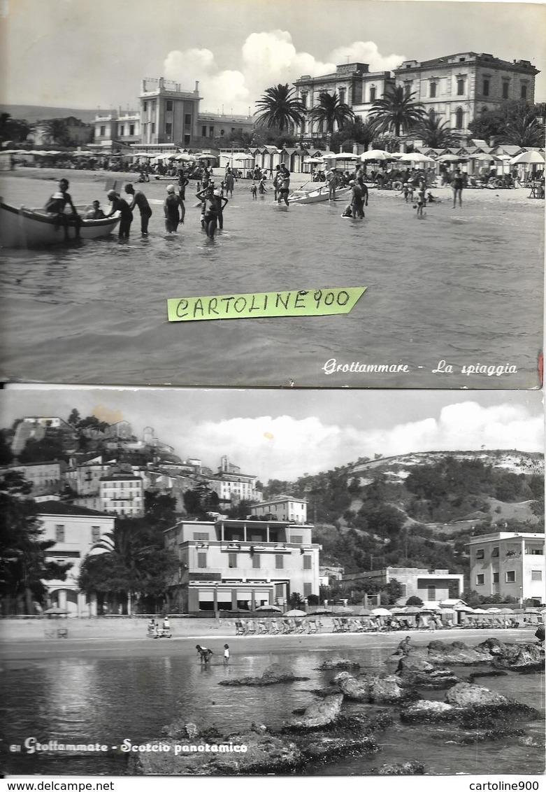 Marche-ascoli Piceno-grottammare La Spiaggia Scorcio Panoramico Anni 50 Animazione (nr°2 Cart.) - Andere Städte