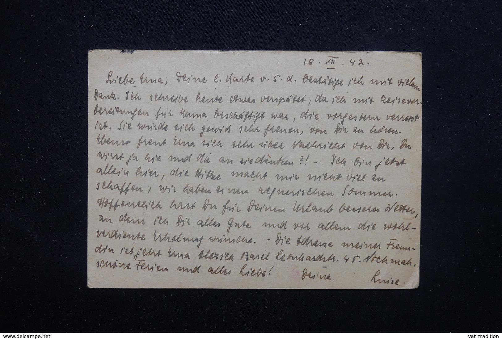 BOHÊME ET MORAVIE - Entier Postal + Complément De Prague Pour Zurich En 1942 Avec Contrôle Postal - L 22088 - Bohême & Moravie