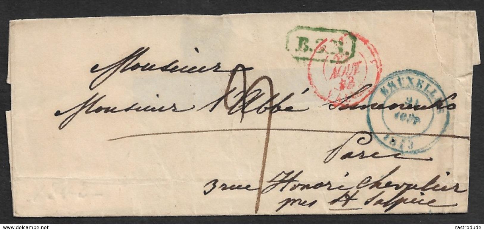 1843 - LSC - BRUXELLES A PARIS - Marques De Transit Et Rayon B.3.R ( 3ième Rayon ) - Tricouleur - 1830-1849 (Belgique Indépendante)