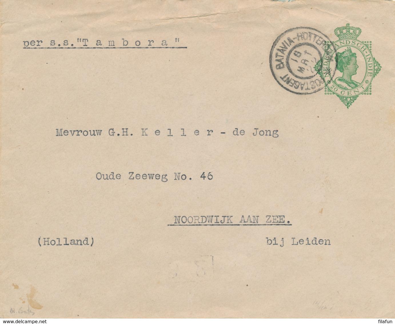 Nederlands Indië - 1922 - 20 Cent Wilhelmina, Envelop G44 Van GR POSTAGENT BATAVIA-ROTTERDAM Naar Noordwijk Aan Zee - Nederlands-Indië
