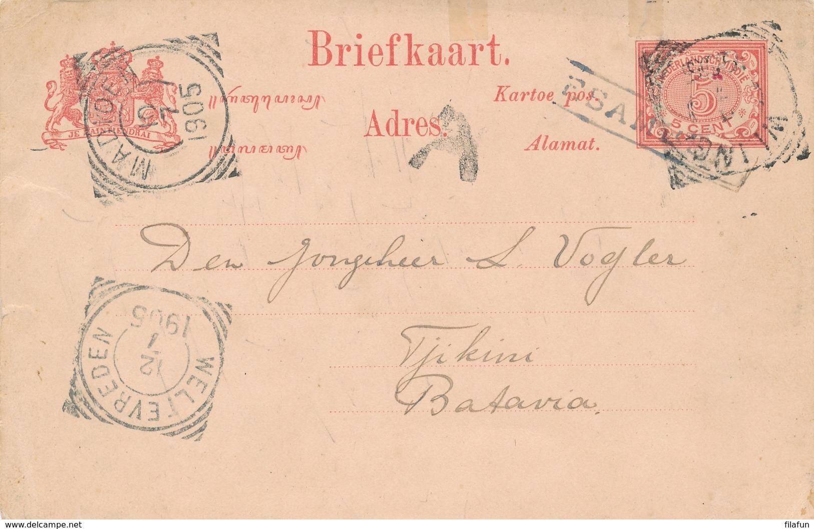Nederlands Indië - 1905 - 5 Cent Briefkaart Van Halte (K)ESAMBEN Van VK WLINGI En VK MADIOEN Naar Batavia - Nederlands-Indië