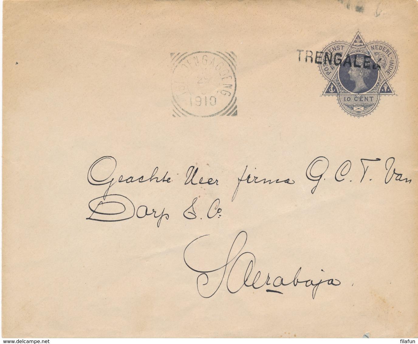 Nederlands Indië - 1910 - 10 Cent Envelop Van L TRENGALEK Via VK TOELOENGAGOENG Naar Soerabaja - Nederlands-Indië
