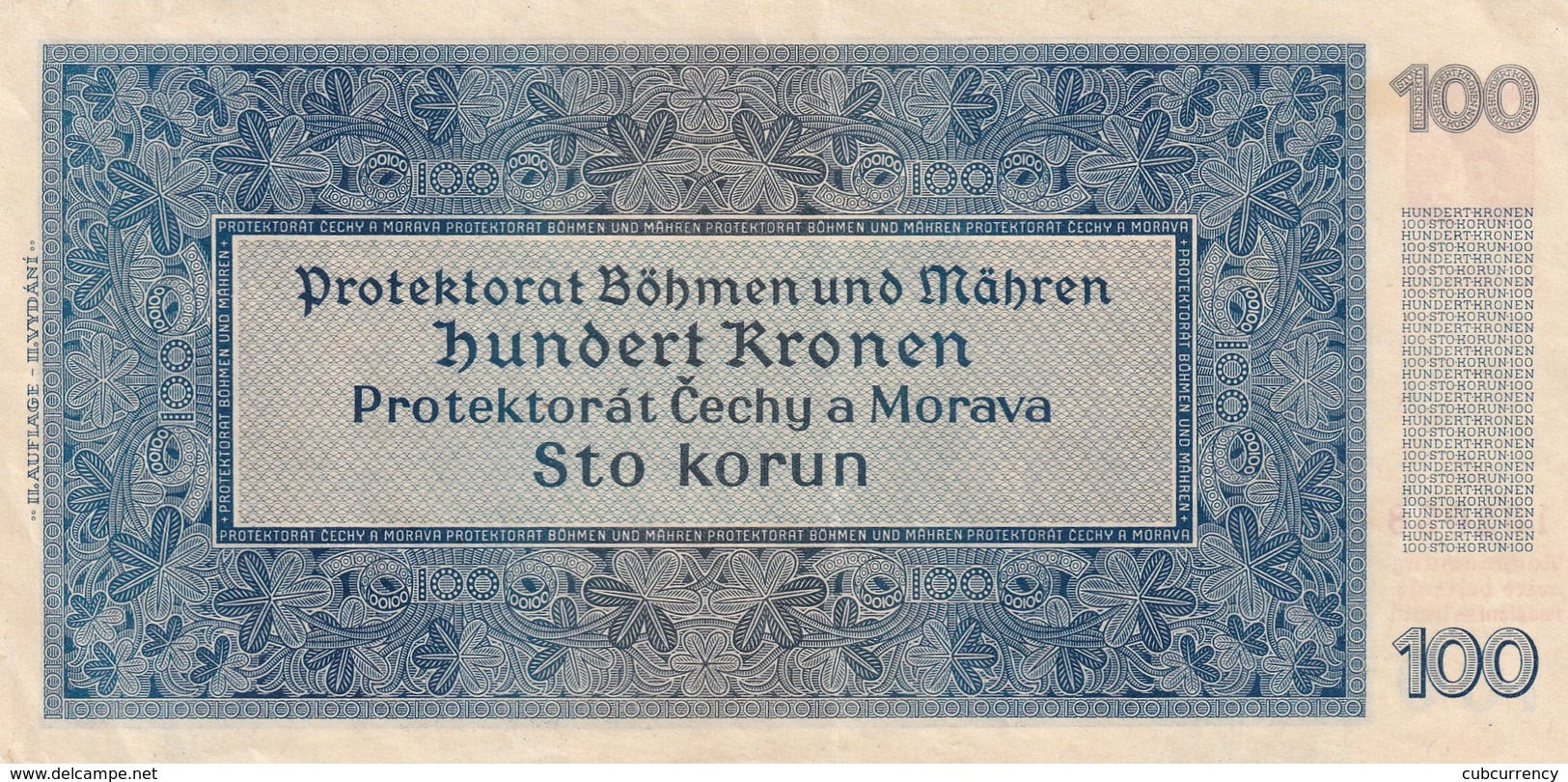 Czechoslovakia Protectorate Protektorát 100 Korun Unperforated EF/aUNC Rare Serie Gb - Tchécoslovaquie