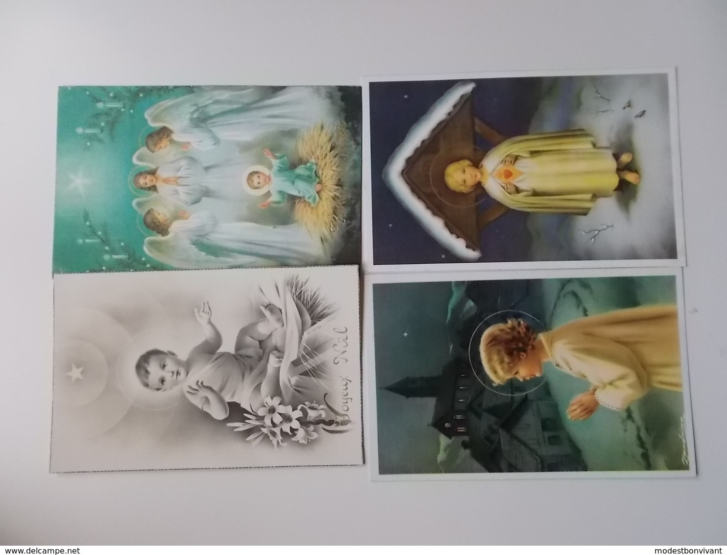 Lot 4 Vintage, Romantiek, Amitiès, Liefde, Amour, Begin 1900, Folklore, Wensen, Bloemen,  JOYEUX NOËL./ KERST.... # 13 - Phantasie
