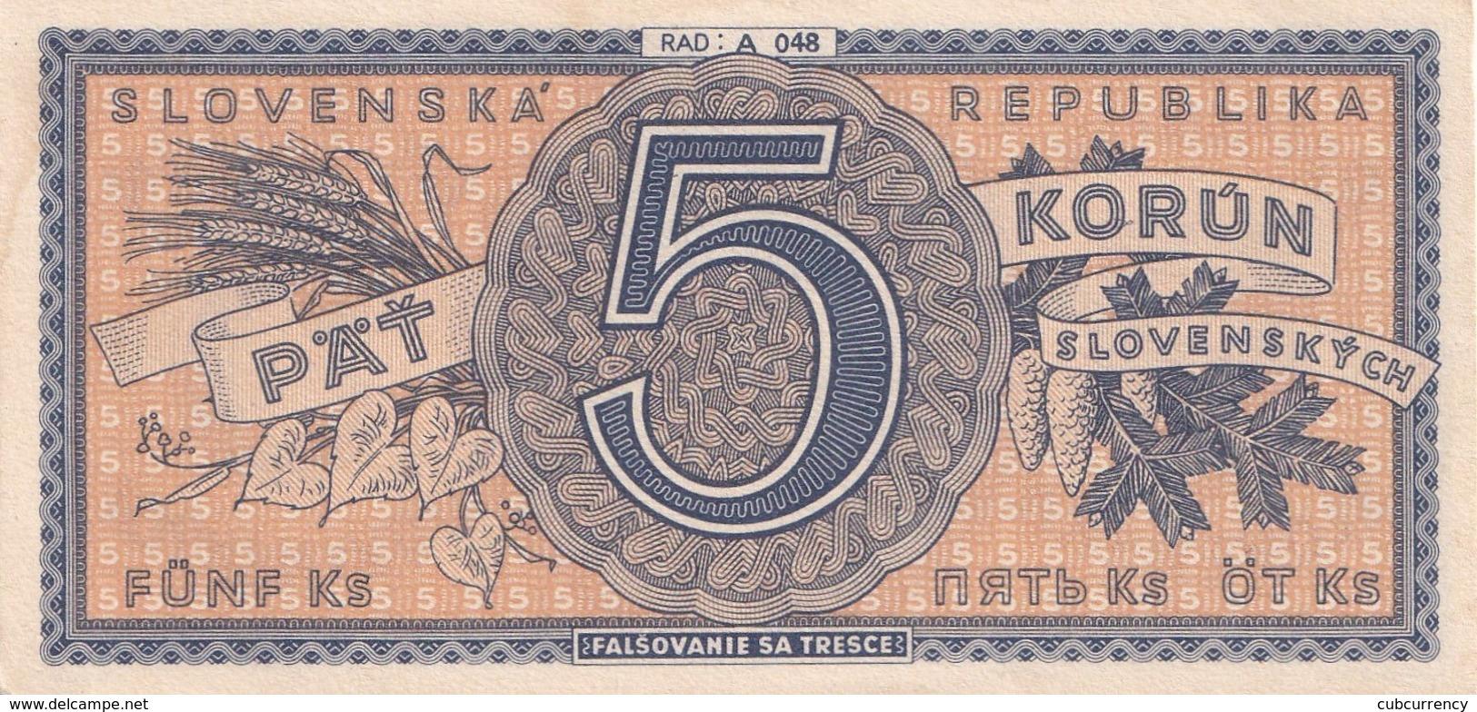 Czechoslovakia Slovakia 5 Korun Unperforated   Serie A AUNC - Tchécoslovaquie