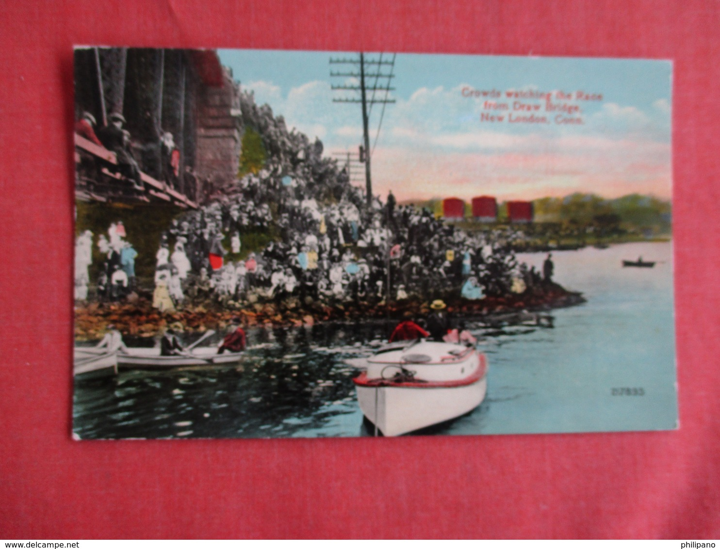 Watching The Boat Race From Drawbridge New London Ct. .  Ref 3152 - Cartes Postales