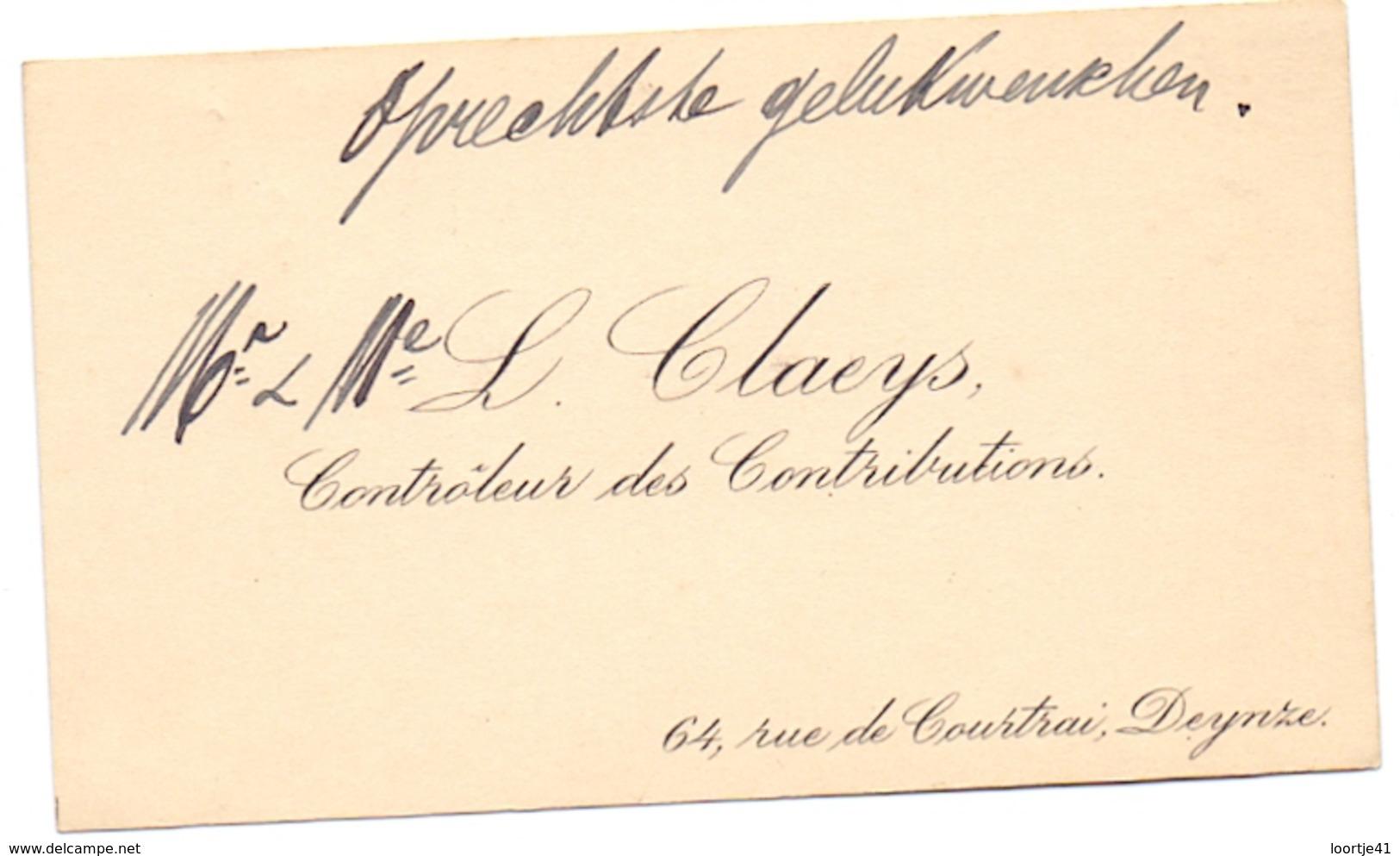 Visitekaartje - Carte Visite - Controleur Des Contributions - L. Claeys - Deinze - Cartes De Visite