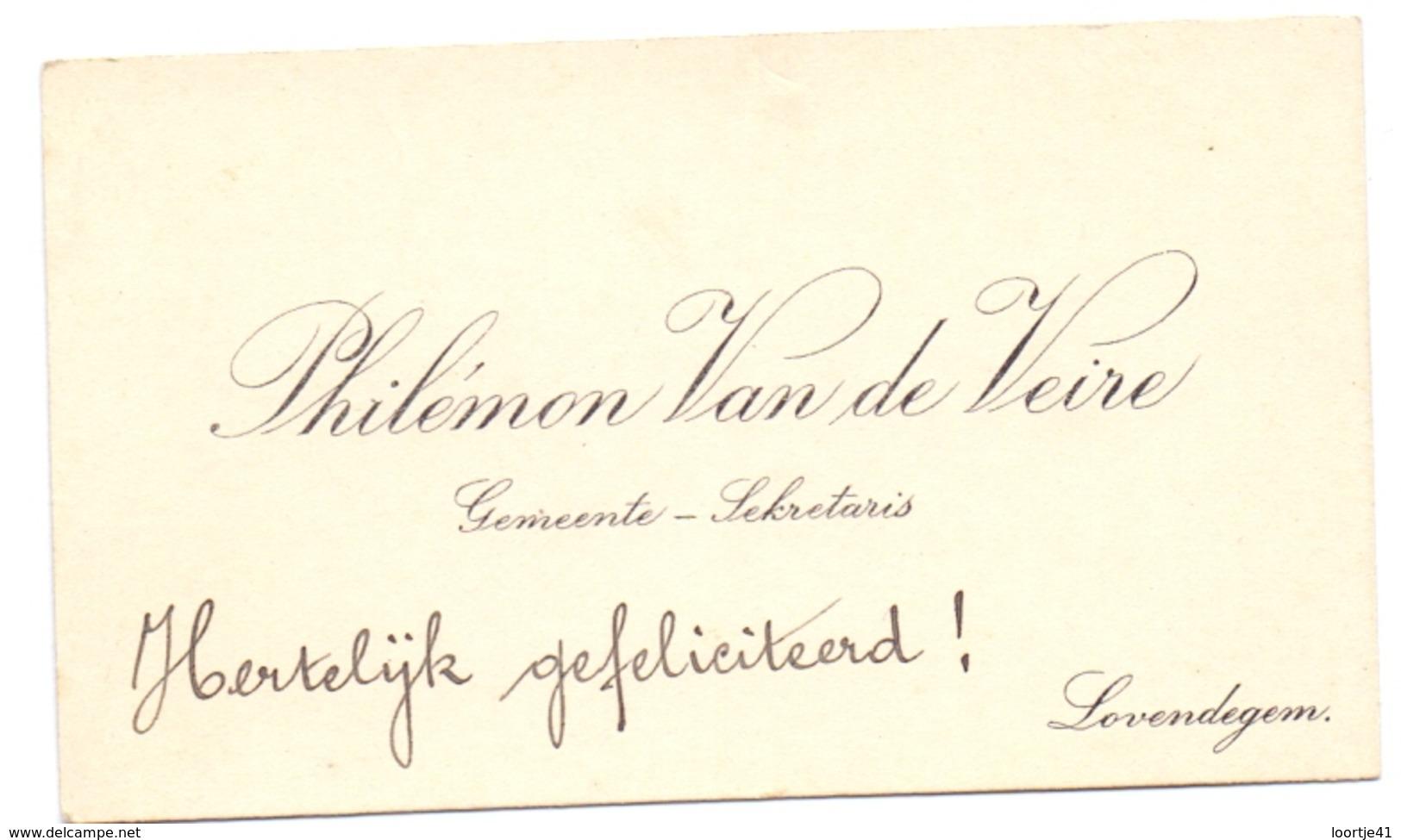 Visitekaartje - Carte Visite - Gemeente Secretaris Philemon Van De Veire - Lovendegem - Cartes De Visite