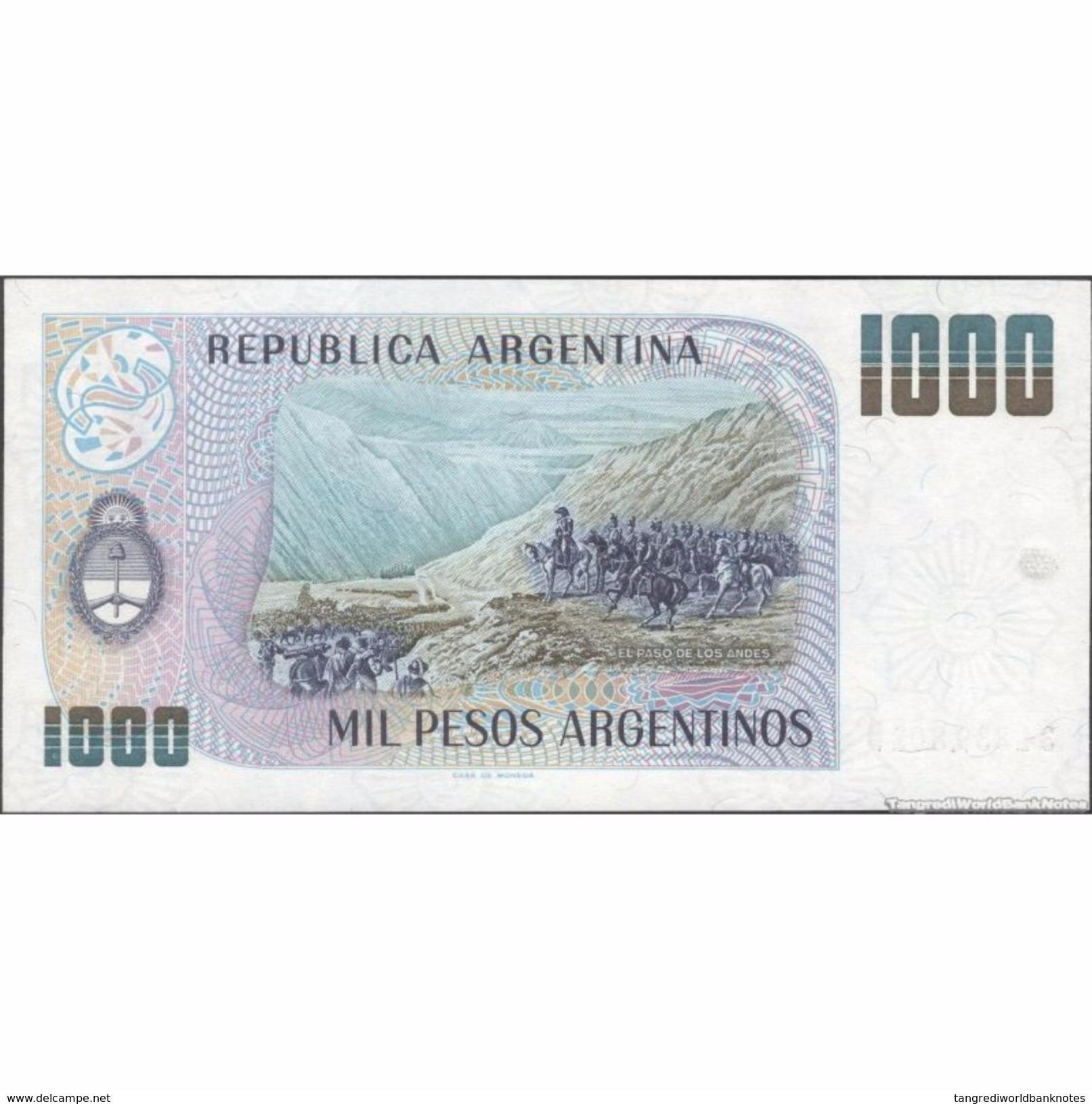 TWN - ARGENTINA 317b - 1000 1.000 Pesos Argentinos 1983-85 Serie D - Signatures: Lopez & Vazquez UNC - Argentine