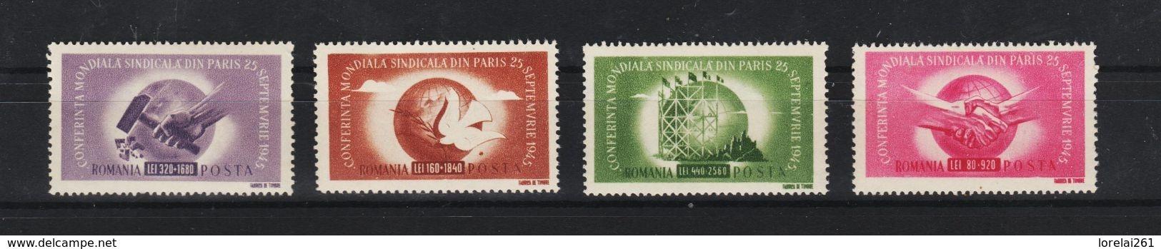 1945 - Congres Syndical De Paris Mi No 917/920  MNH  RAR - 1918-1948 Ferdinand, Carol II. & Mihai I.