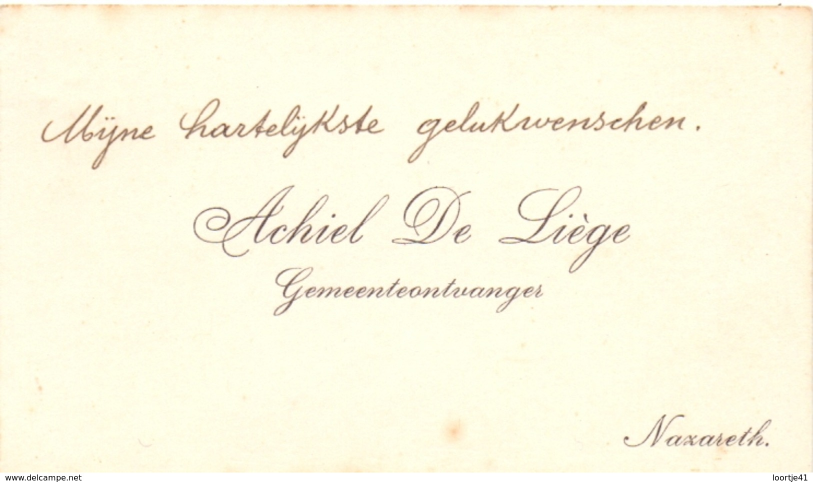 Visitekaartje - Carte Visite - Gemeenteontvanger Achiel De Liège  - Nazareth - Cartes De Visite