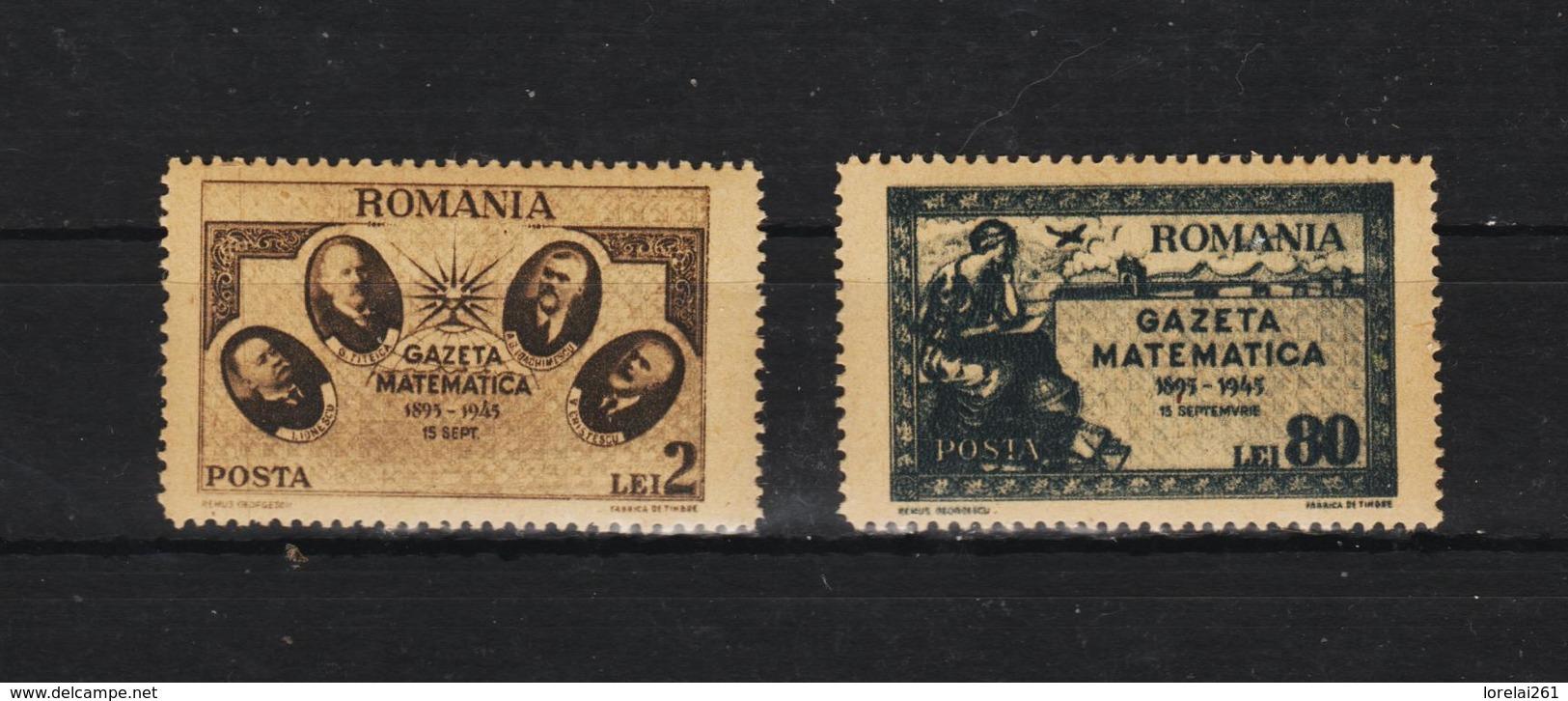 1945 - REVUE MATHEMATIQUE  Mi No  900/901 Et Yv 869/870 MNH - 1918-1948 Ferdinand, Carol II. & Mihai I.