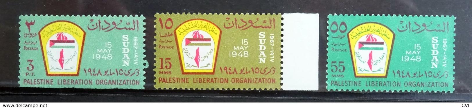 Sudan 1967 SG269-71/Mi.236-238 Palestine Liberation Organisation (PLO) Flag, Mint Never Hinged MNH. - Soudan (1954-...)