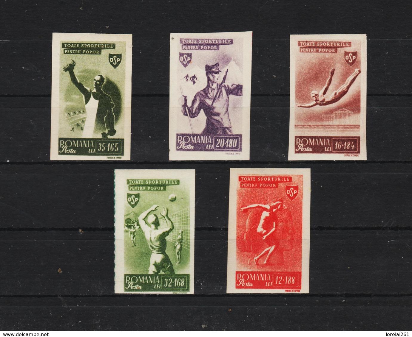 1945 - Organisation Du Sport Populaire Mi No 879/883  MNH - 1918-1948 Ferdinand, Carol II. & Mihai I.