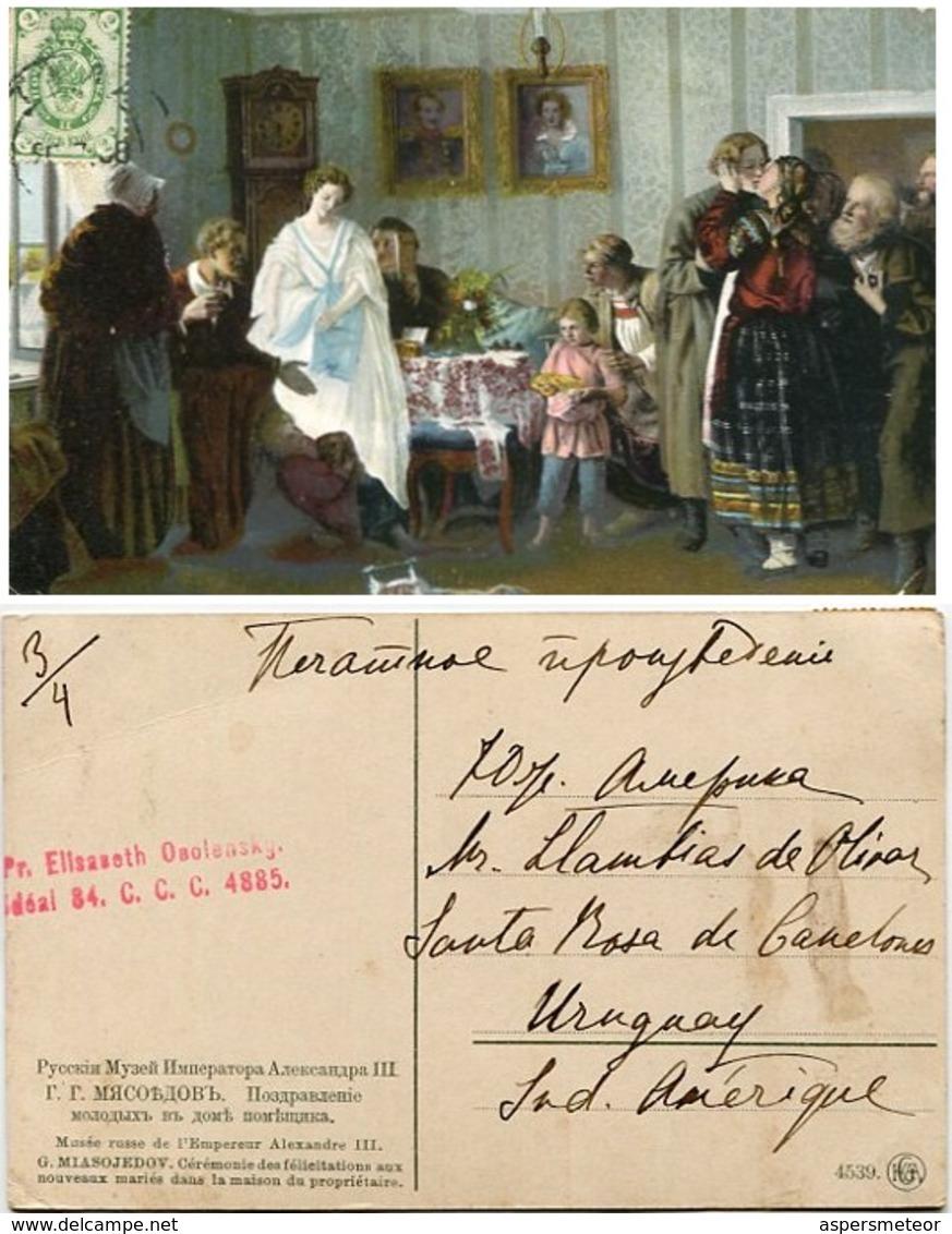 LOTE 7 POSTALES PRINCESA ELISABETH VALERIANOVA OBOLENSKY CIRCULADO RUSIA A URUGUAY CIRCA 1900 -LILHU - Koninklijke Families