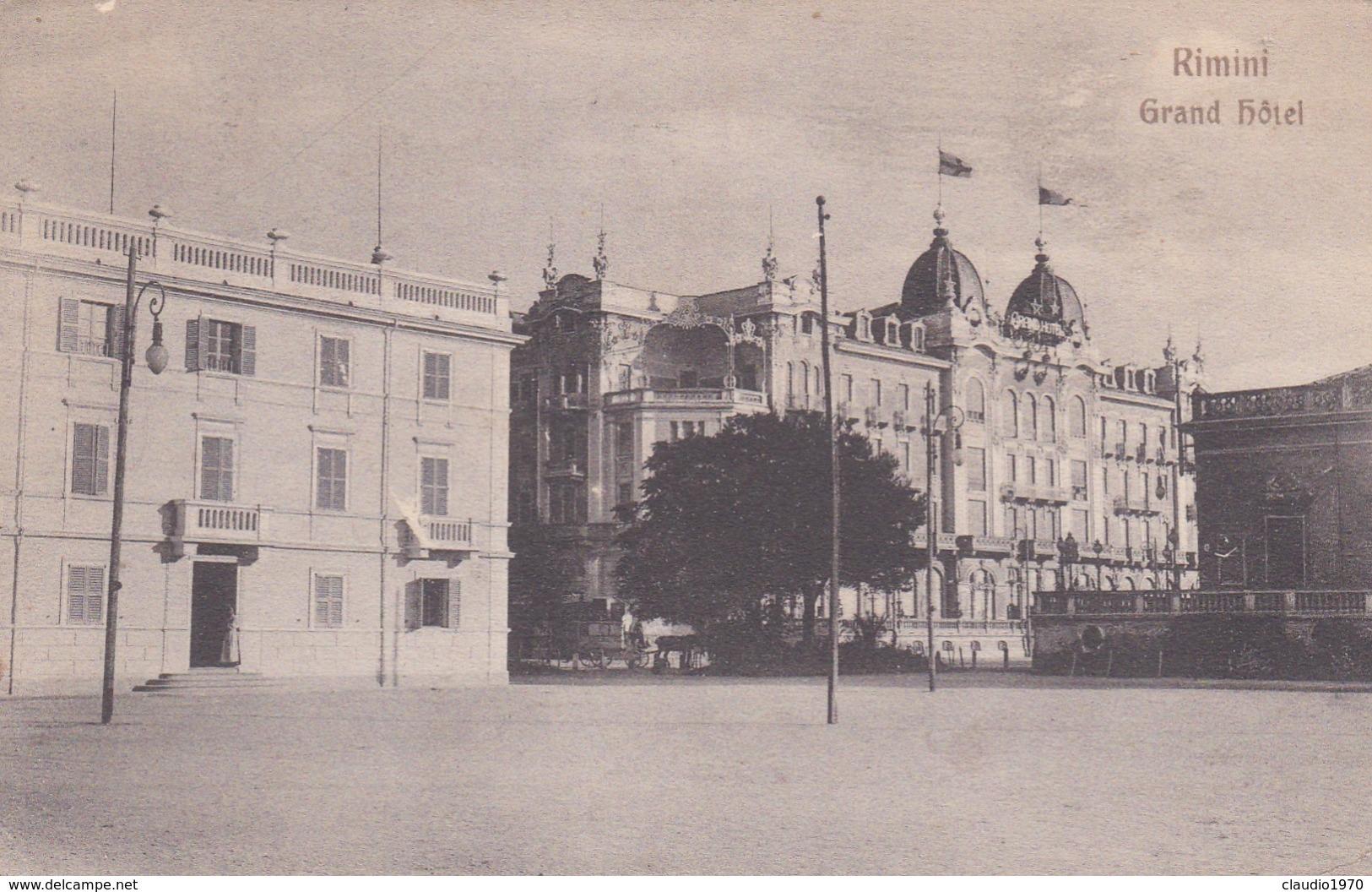 CARTOLINA - RIMINI - GRAND HOTEL - VIAGGIATA DA RIMINI PER CAZZANO ( BESANA BRIANZA ) - Rimini
