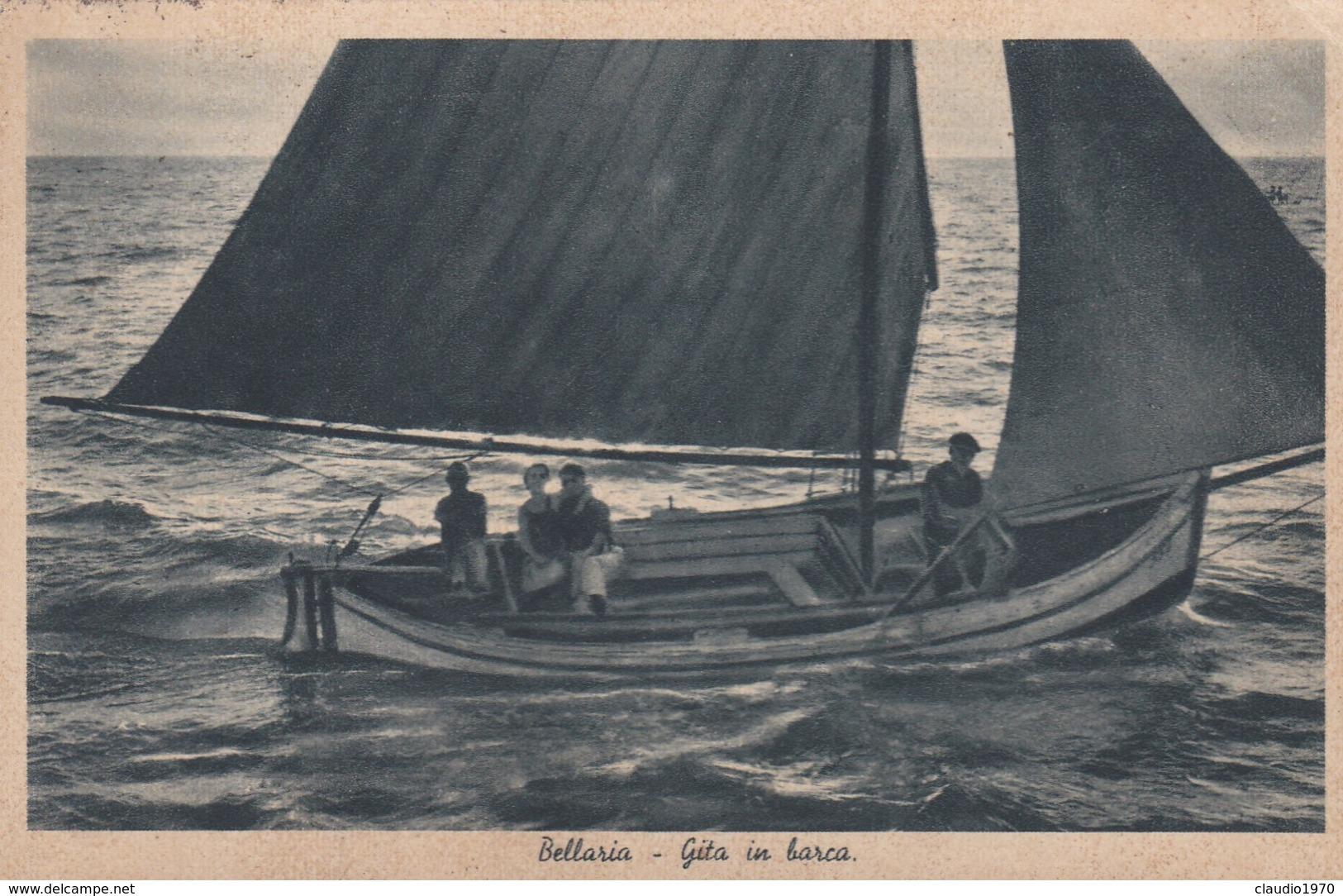 CARTOLINA  - RIMINI -SALUTI DA BELLARIA -LA SORRIDENTE SPIAGGIA -GITA IN BARCA  - VIAGGIATA DA RIMINI PER BUSTO ARSIZIO - Rimini
