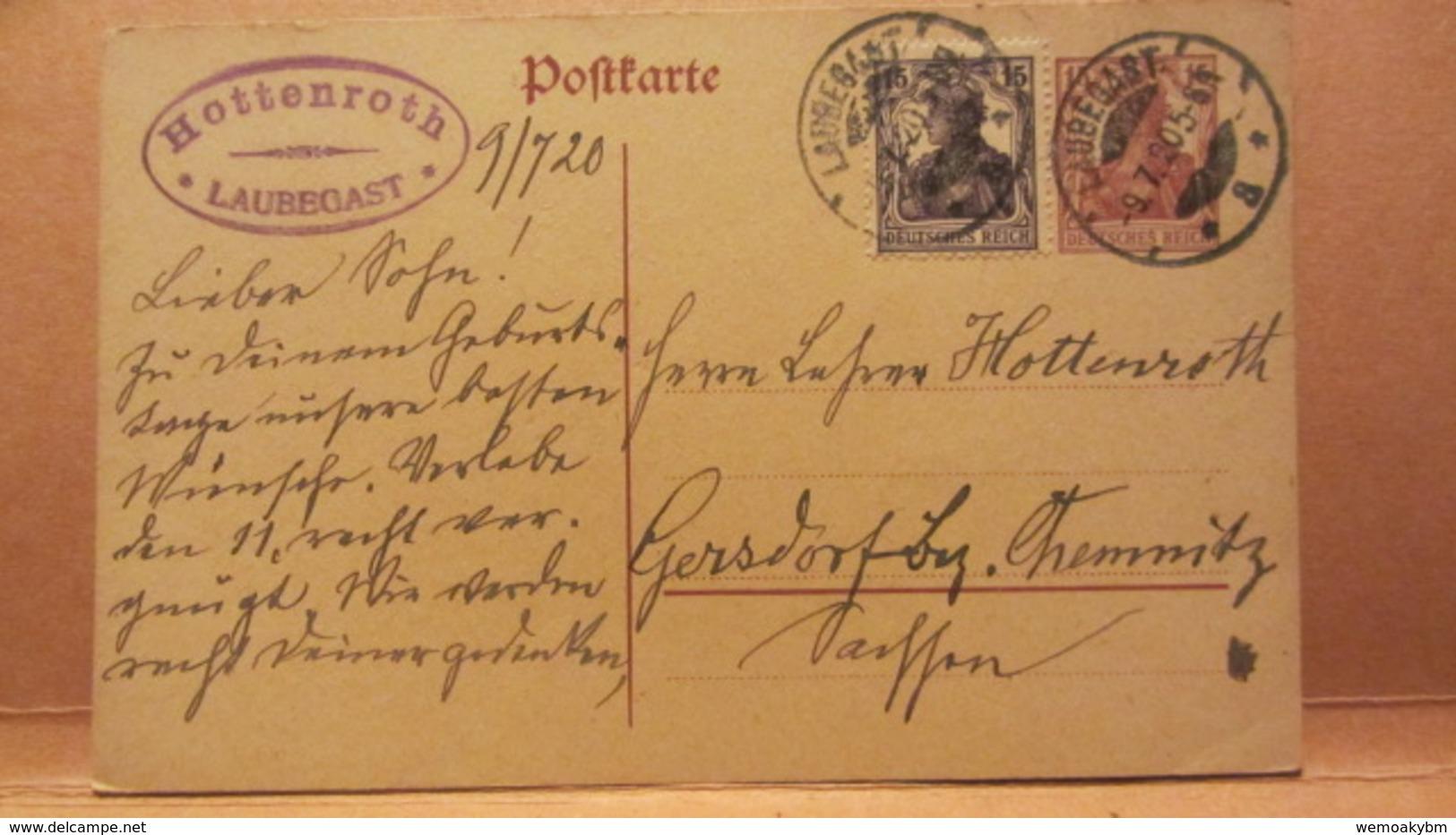 DR: GA Postkarte Mit 15 Pf Germania + 15 Pf Zusatz Von LAUBEGAST Nach Gersdorf (Bez. Chemnitz) Vom 9.7.20 Knr:  P 116 I - Briefe U. Dokumente