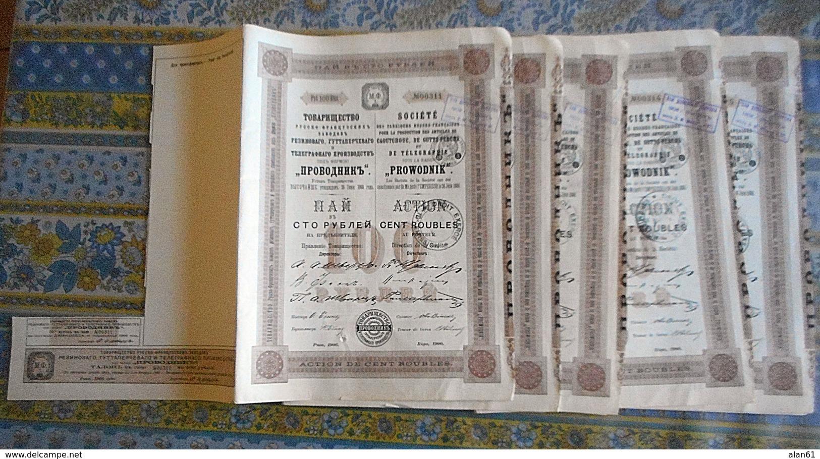 LOT DE 5 ACTION DE CENT ROUBLES Avec 1 Coupon RUSSIE 1906 PROWODNIK CAOUTCHOUC DE GUTTA PERCHA ET DE TELEGRAPHIE - Russland