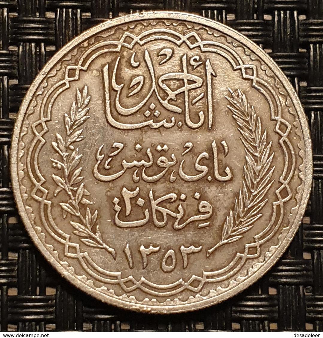 Tunisia 20 Francs 1934 (year 1353) - Tunisie