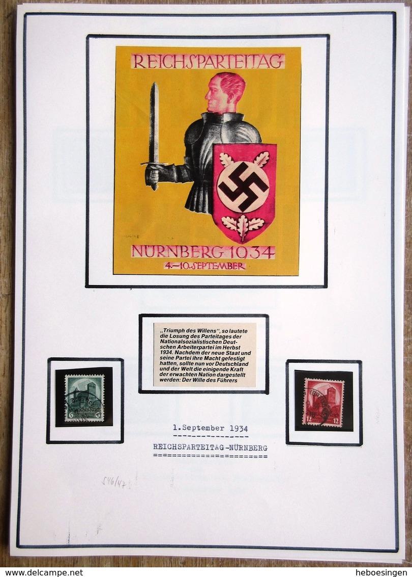 DR Reichsparteitag Mi.Nr. 546,547 Auf Selbstgestaltem Sammlerblatt Mit Bild - Gebraucht