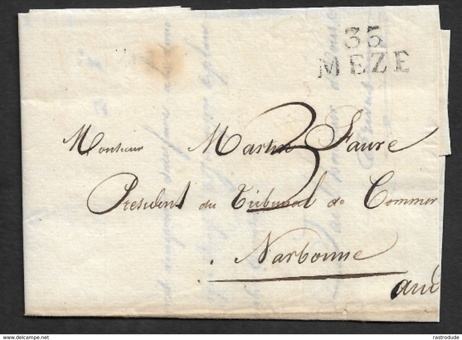 1824 - LAC 35 MEZE 21mm X 20mm ( Herault ) A NARBONNE - Marcophilie (Lettres)